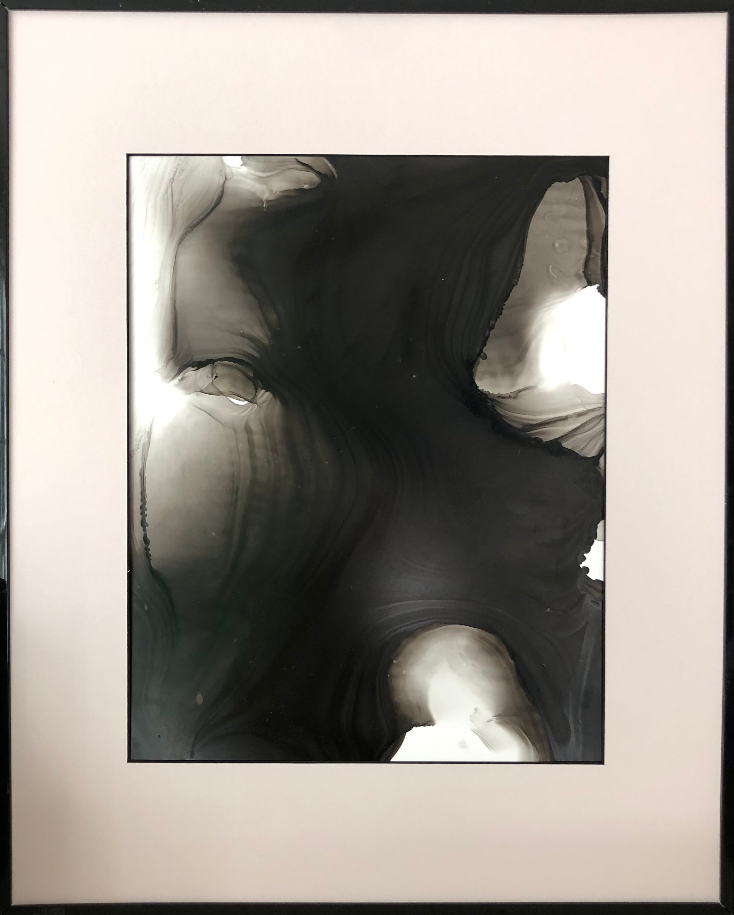 Other Worlds - abstraction art, made in black, grey, beige colors