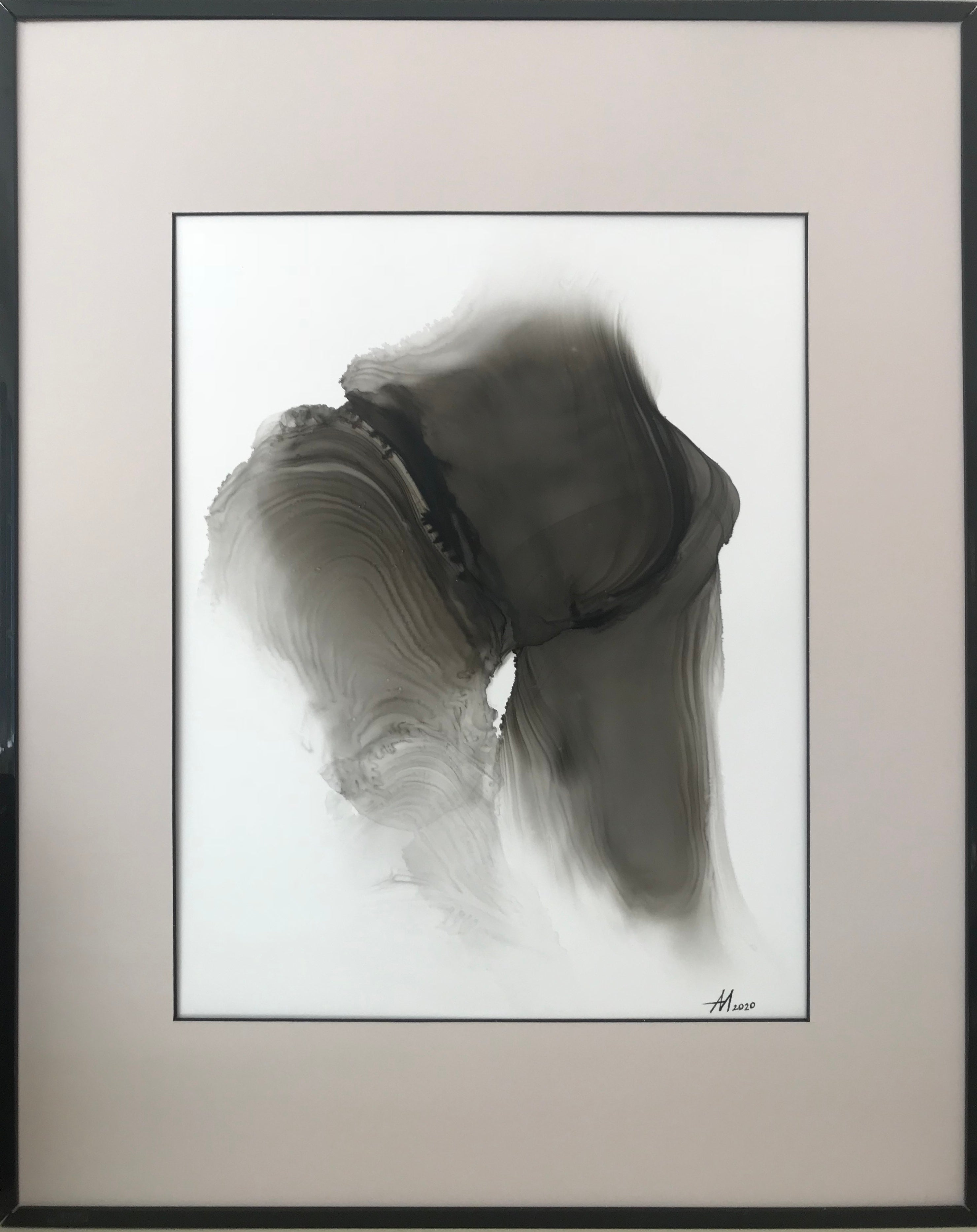 Feelings (wave)- abstract painting, made in beige, black and white color