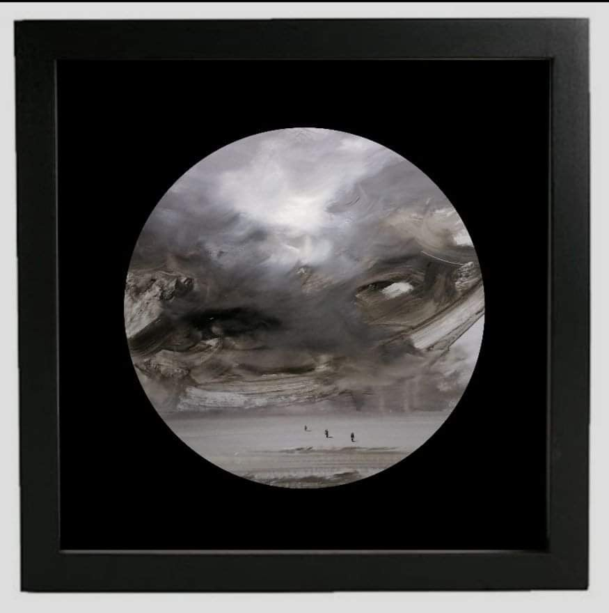 Observer clouds (circular) -  landscape with beige, grey, white color