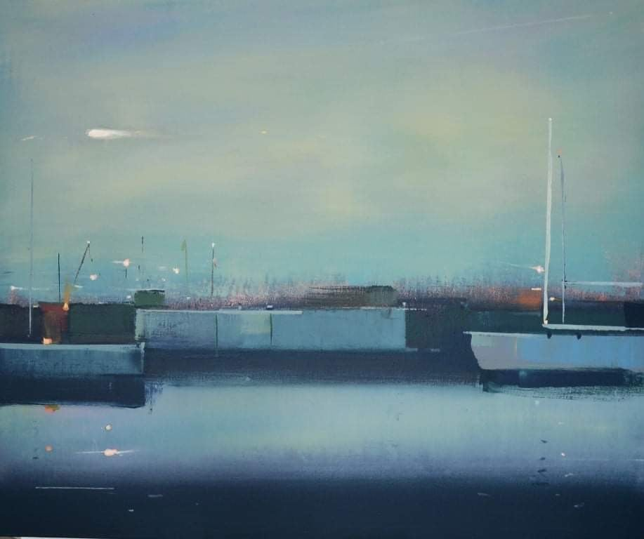 Night at the port (boats, sea port, ) - abstract seascape, made in blue color