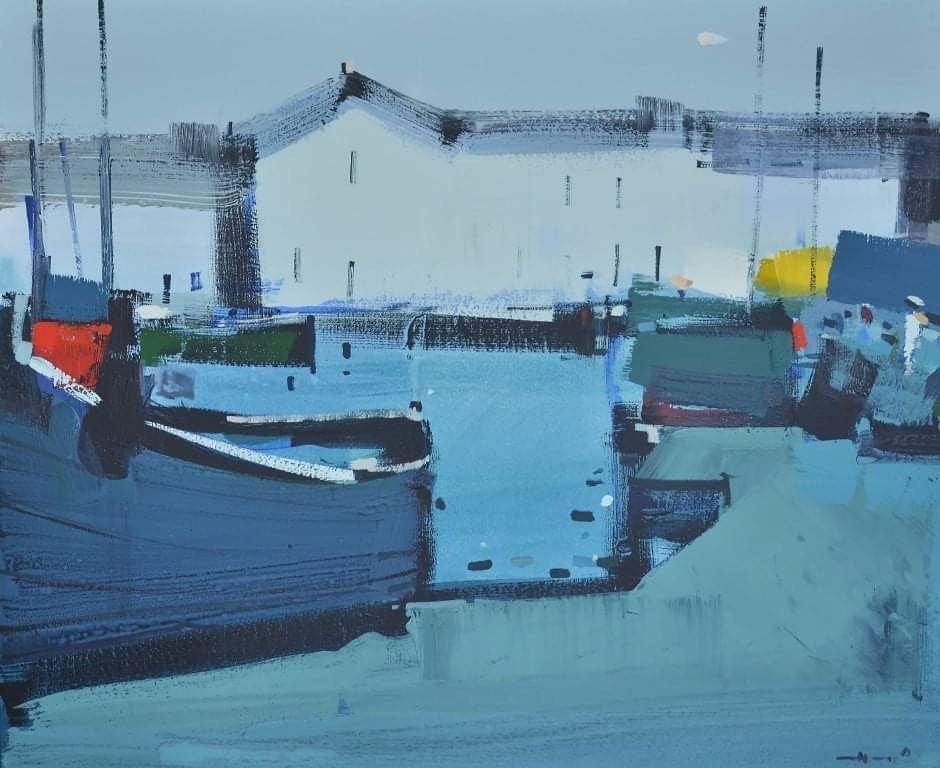 Morning in Honfler (boats, sea port) - abstract seascape, made in blue color