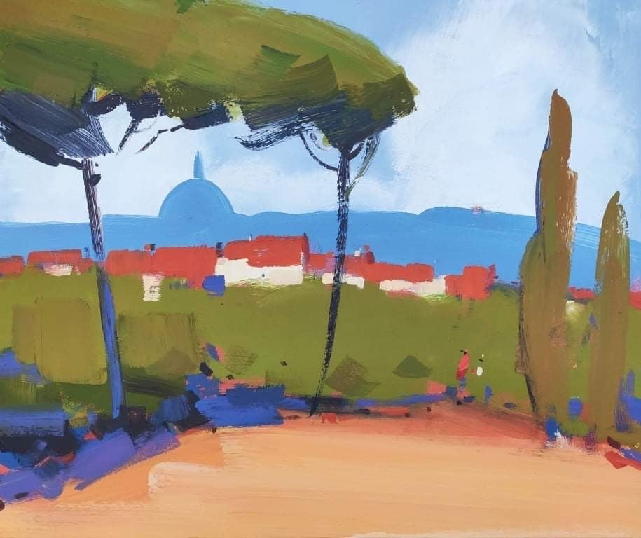Park in Florence - abstract seascape, made in blue, red, green, orange color