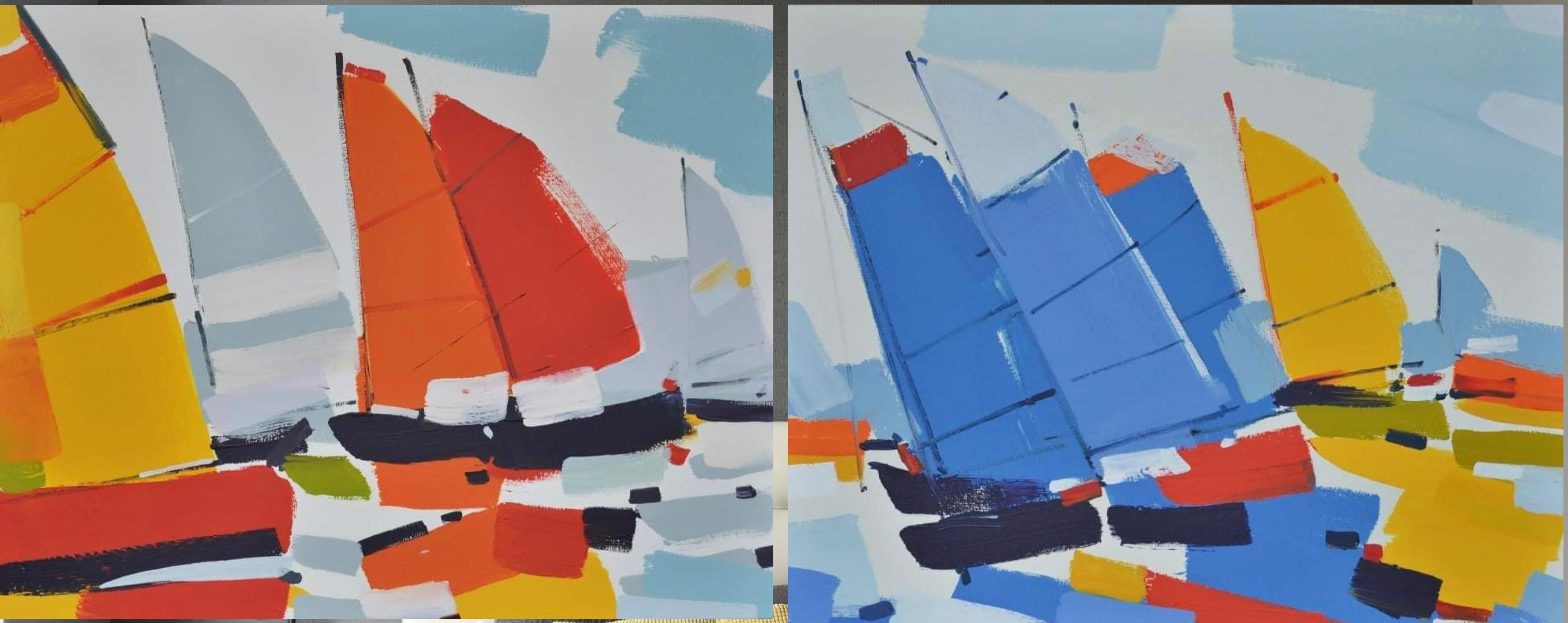 Regatta diptych (boats) - seascape made in blue, red, yellow, orange color