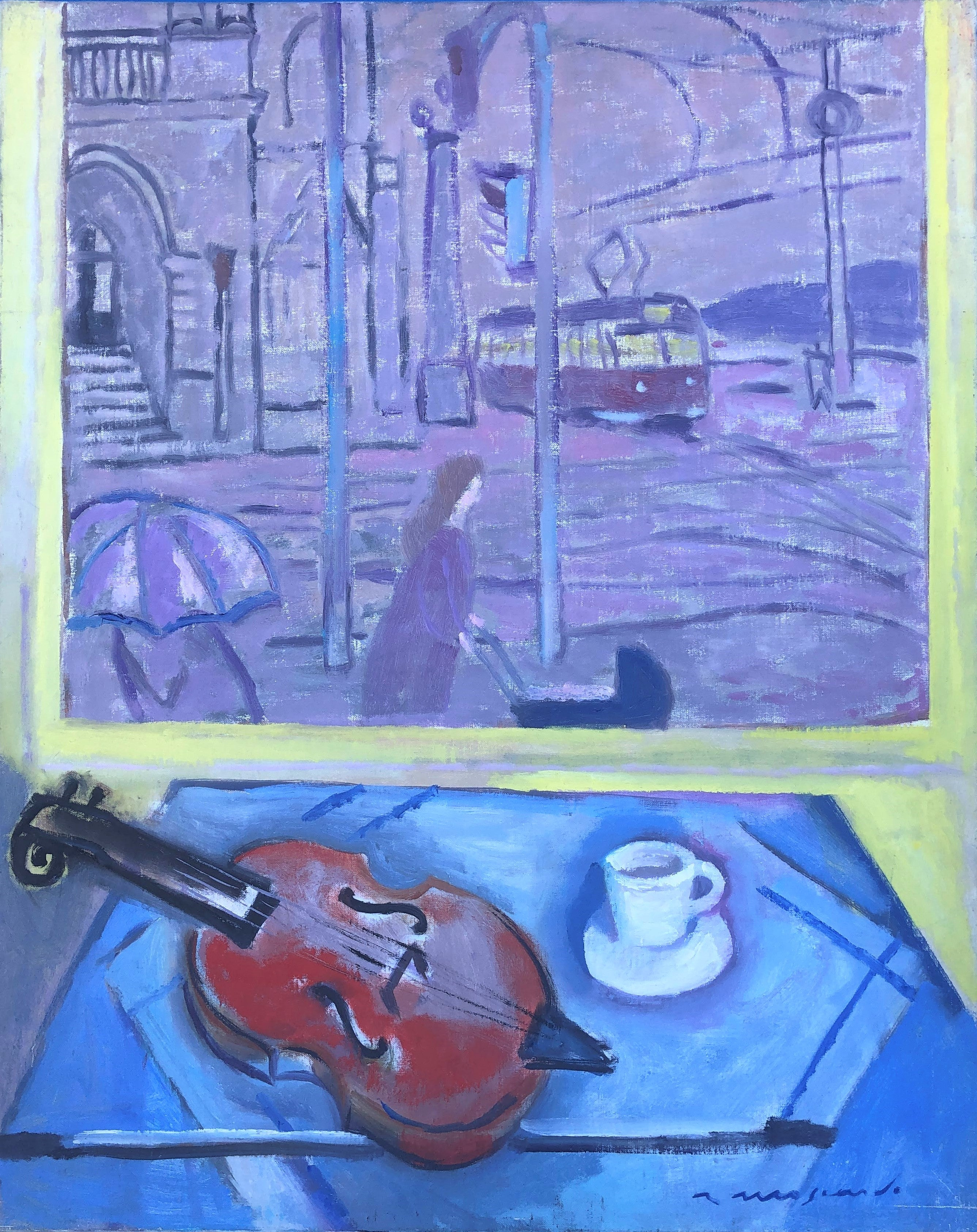 View of Prague and still life with violin oil on canvas painting