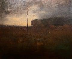 """A Cloudy Day,"" View of Montclair, New Jersey, Tonalist, Barbizon Scene"