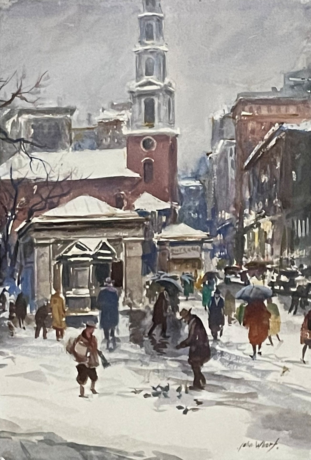 """Park Street Church, Boston,"" John Whorf, American Watercolorist Urban Cityscape"