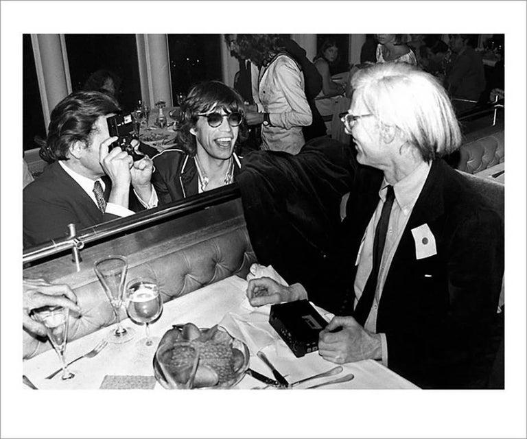 Mick Rock Portrait Print - Mick Jagger, Andy Warhol, Windows on the World