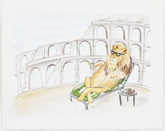 Lion Relaxing at the Colosseum