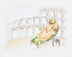 ORIGINAL WATERCOLOR: Lion Relaxing by the Colosseum