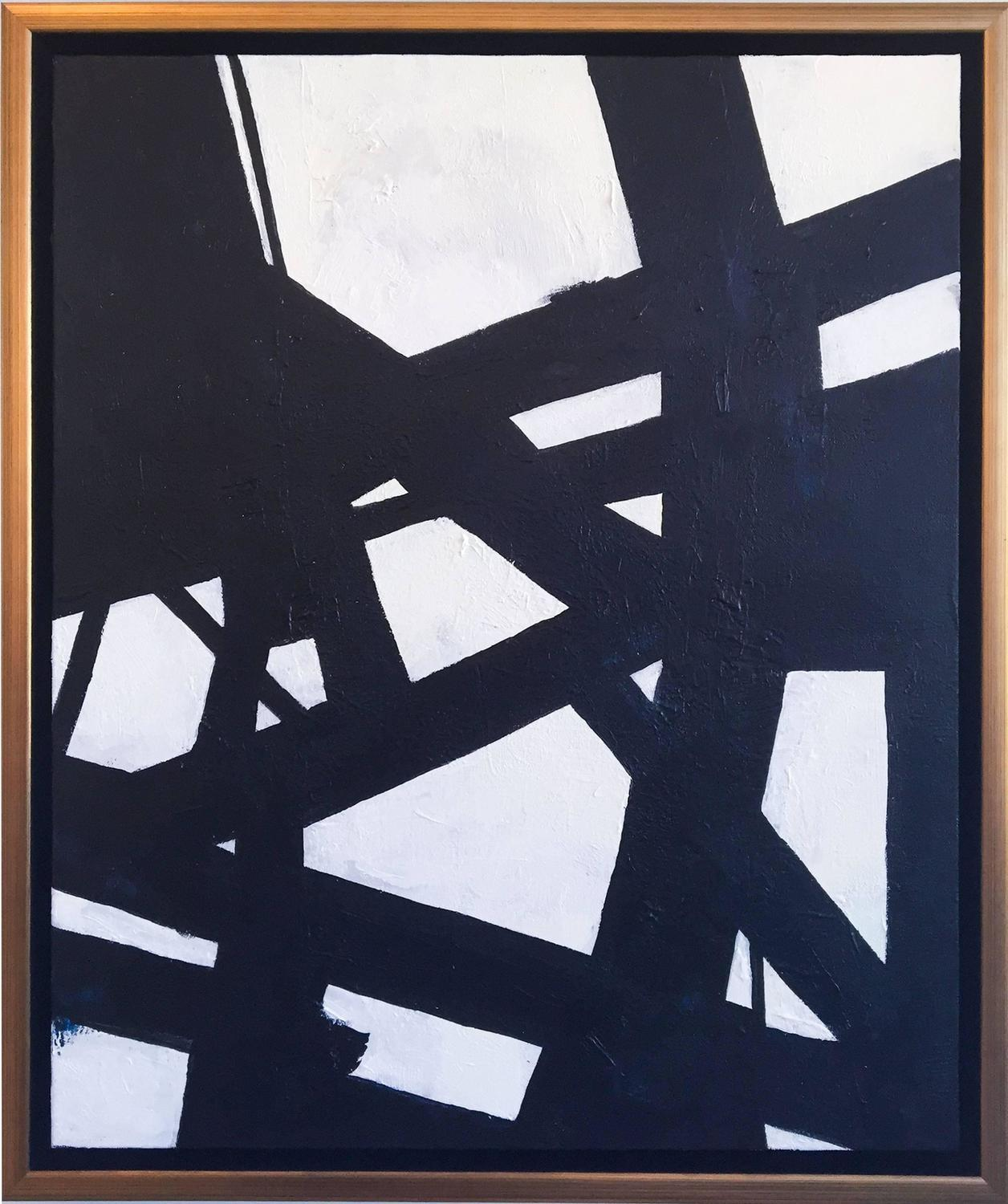Nicole yates black and white abstract 2 at 1stdibs for White and black paintings