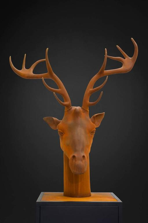 Mauro Corda Figurative Sculpture - Giraffe-Deer Head