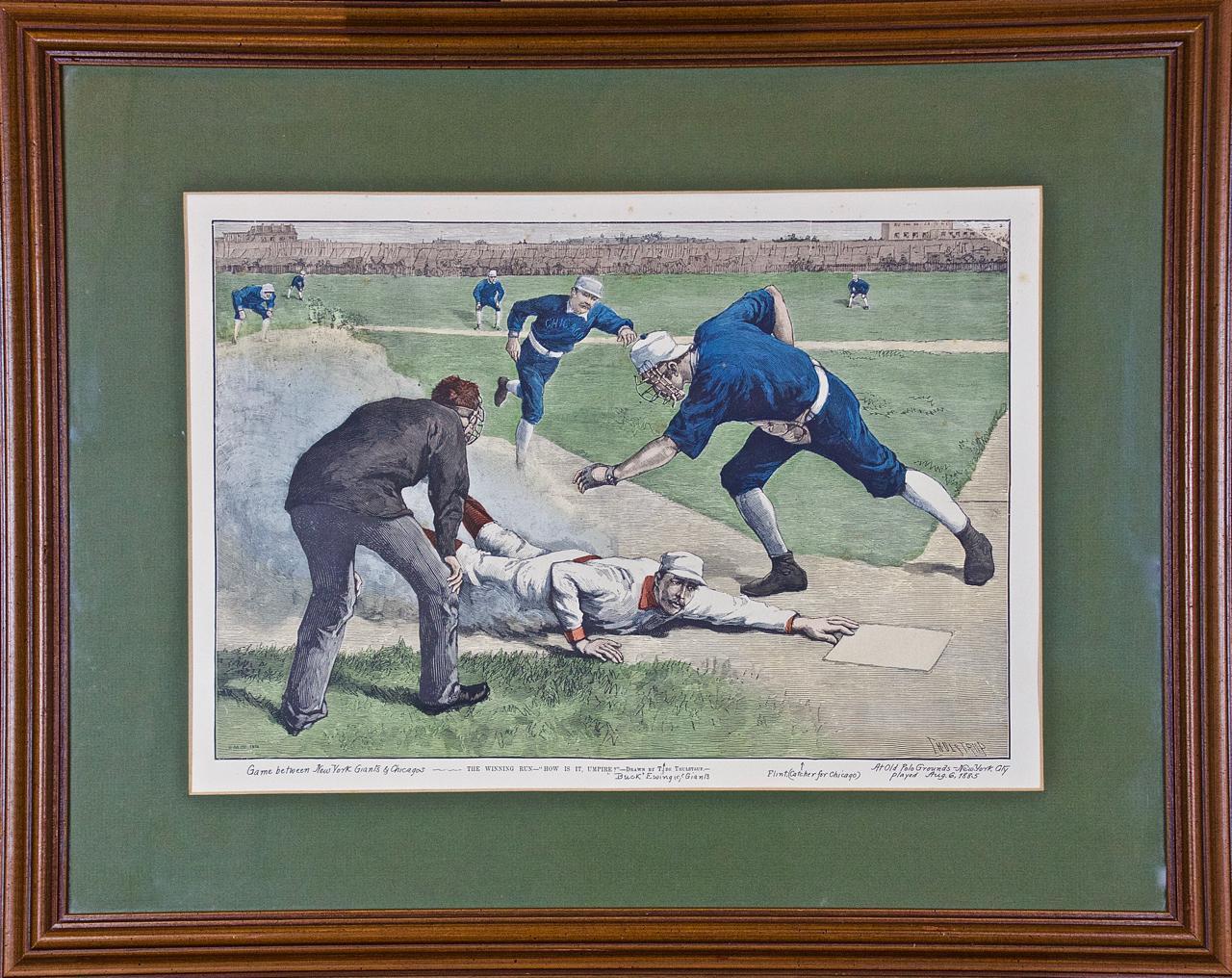 "1885 NY Giants vs. Chicago Baseball Scene ""The Winning Run, How is it, Umpire?"""