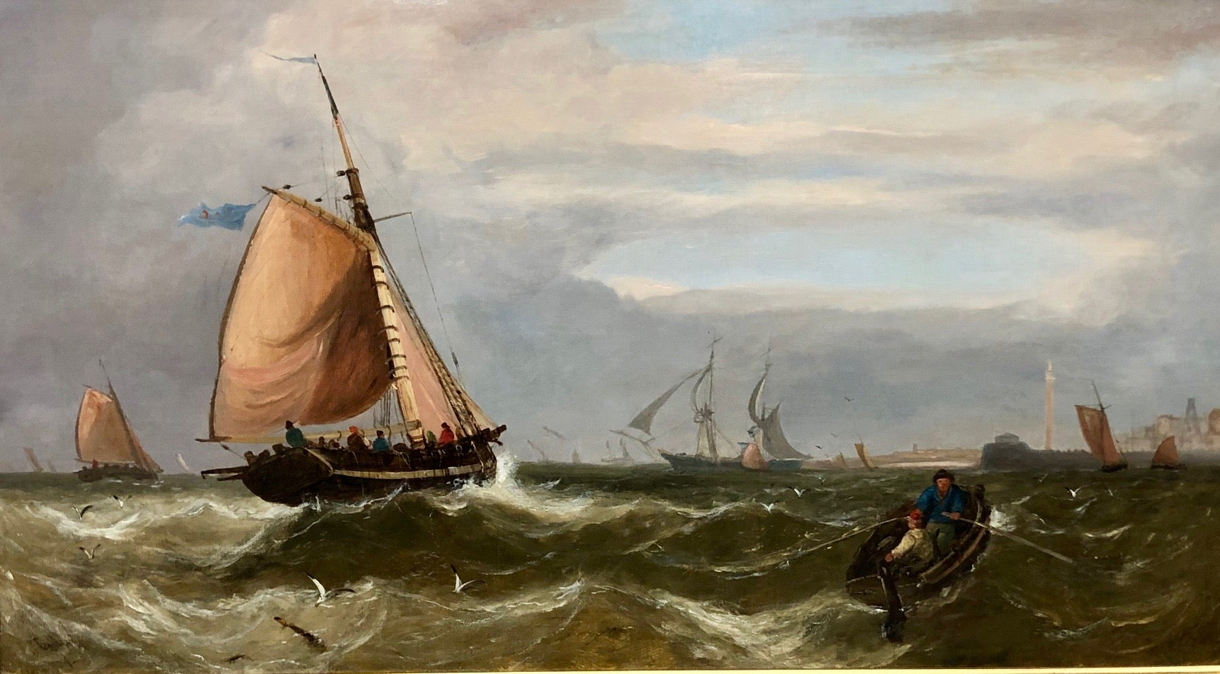 Fishing Boats Making For Yarmouth Haven - Large Seascape Oil On Canvas, Callow