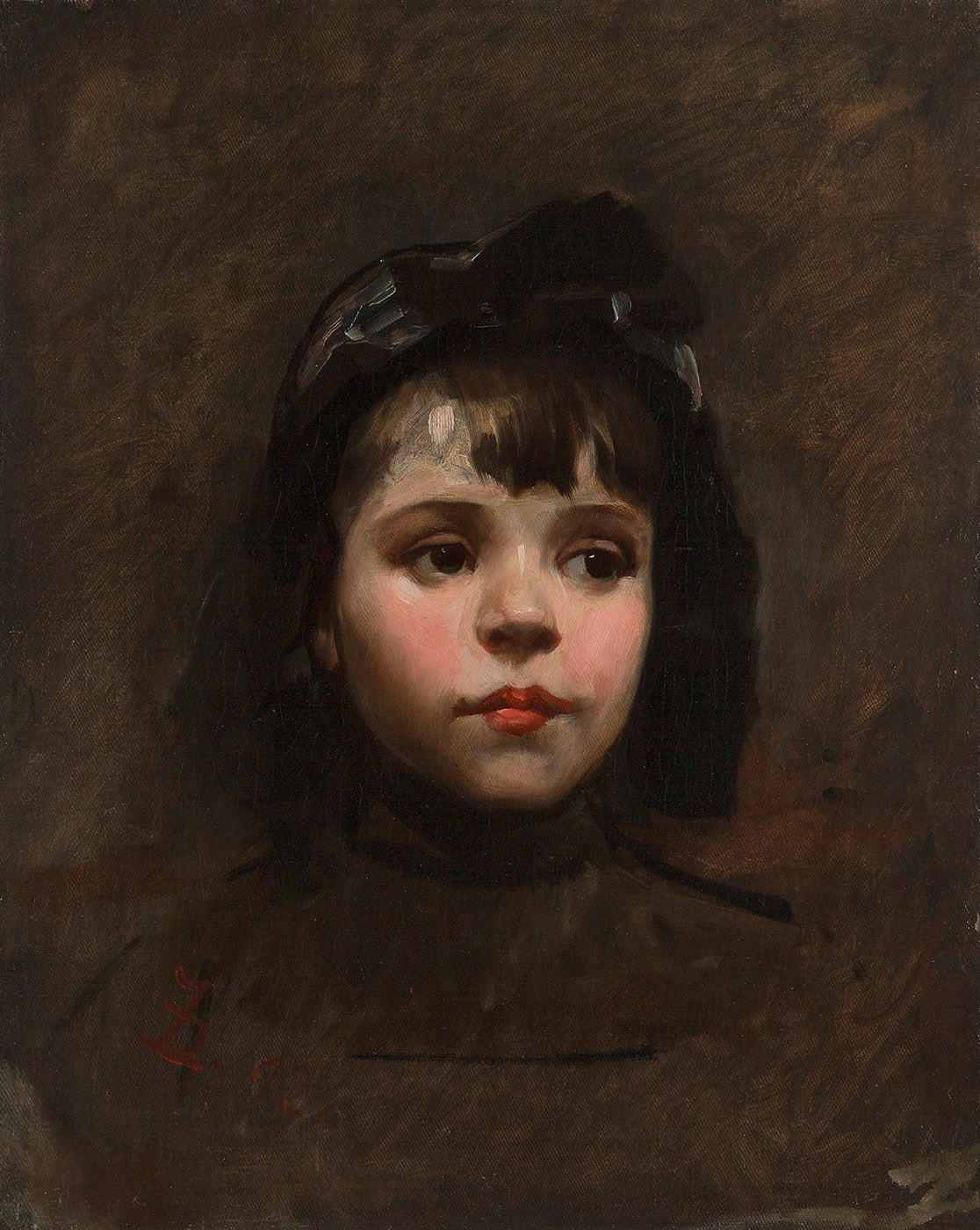 Frank Duveneck Portrait Of A Little Girl Painting At