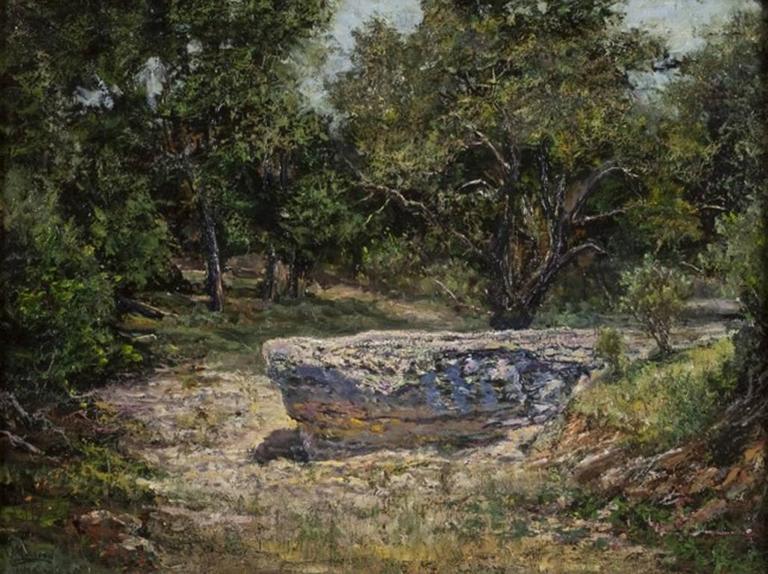 Jerry Malzahn Landscape Painting - Rock Ledge, Spring Creek, Center Point, Texas