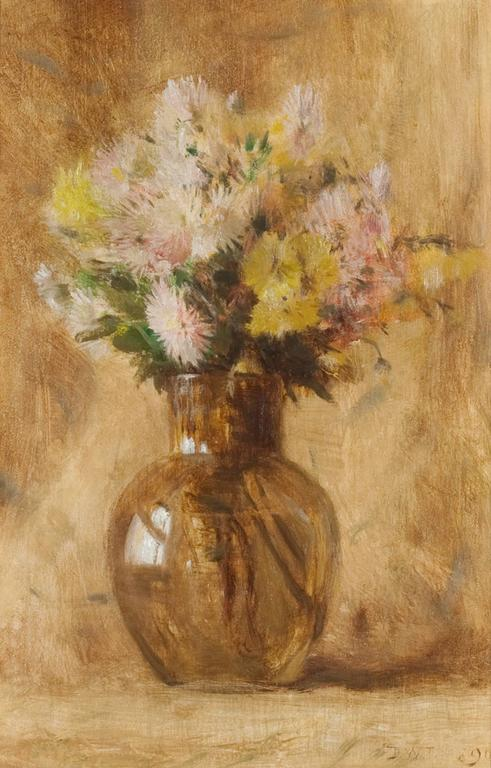 Dwight William Tryon Still-Life Painting - Chrysanthemums
