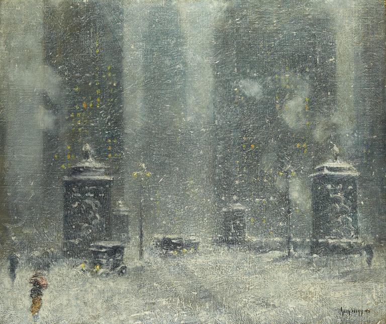 Guy Carleton Wiggins - Chicago Blizzard, Painting at 1stdibs