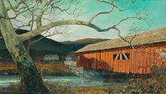 Afternoon Shadows on Red Covered Bridge