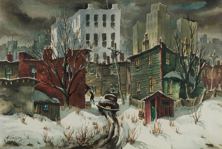 Henry Martin Gasser Downtown Side Street Painting For