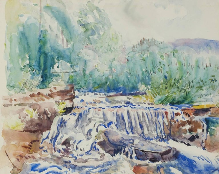 Hayley Lever Landscape Painting - Waterfall, Woodstock, NY