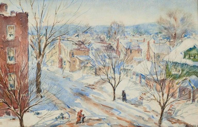 Newark Street Snow Scene in Sunlight with Figures