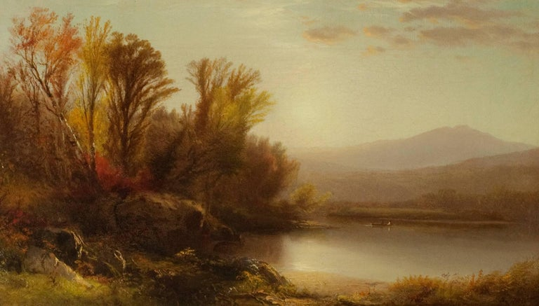 William Hart Landscape Painting - Early Sun, Lake George