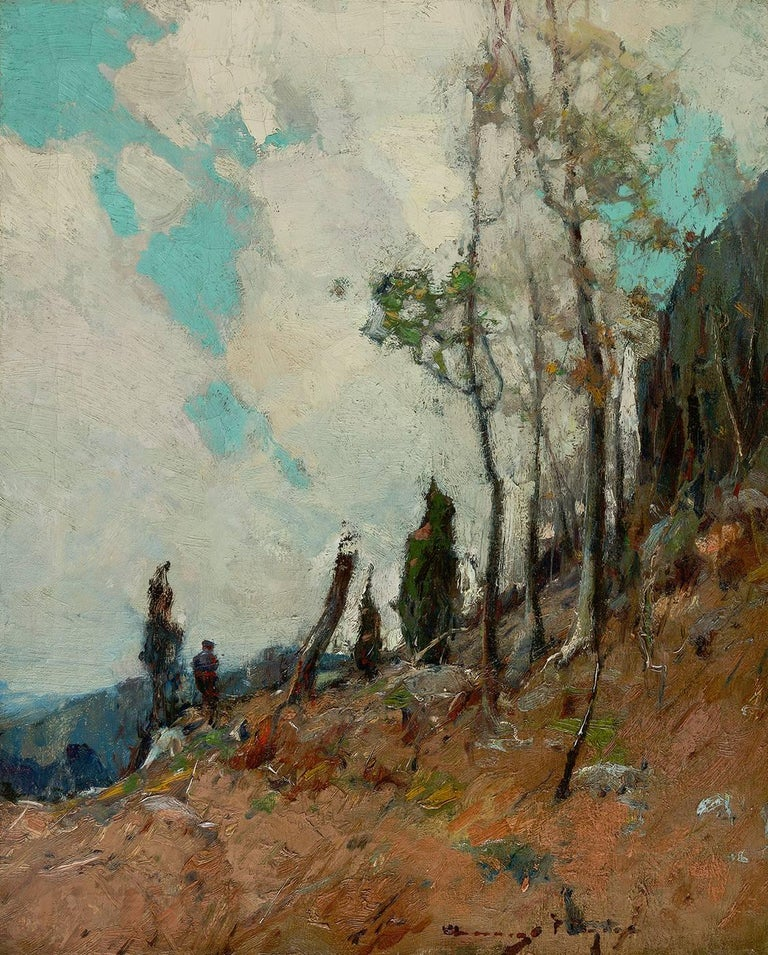 Chauncey Foster Ryder Landscape Painting - On the Mountain Side
