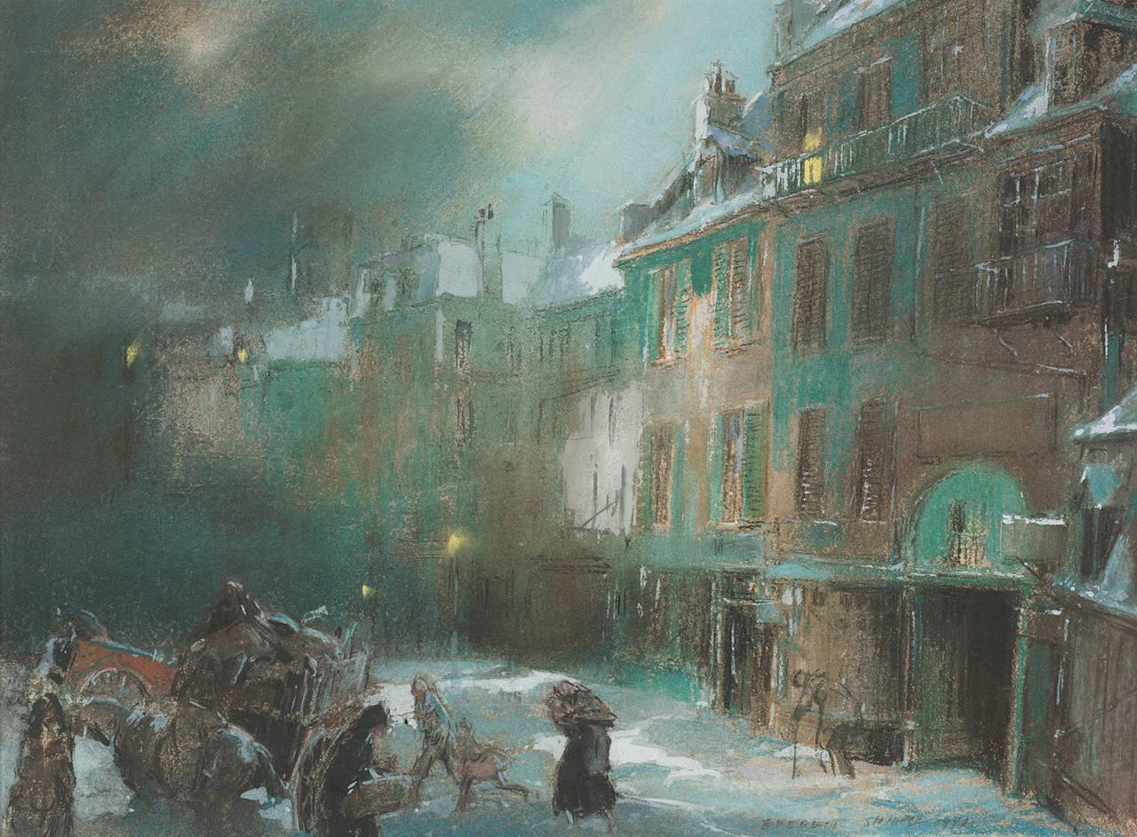 Everett Shinn Paris Square Winter Painting At 1stdibs