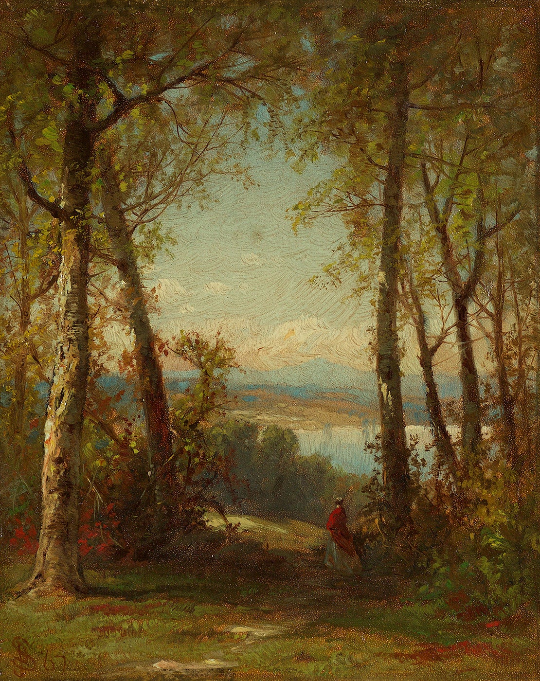 James Smillie Woman Admiring An Autumn Vista Painting