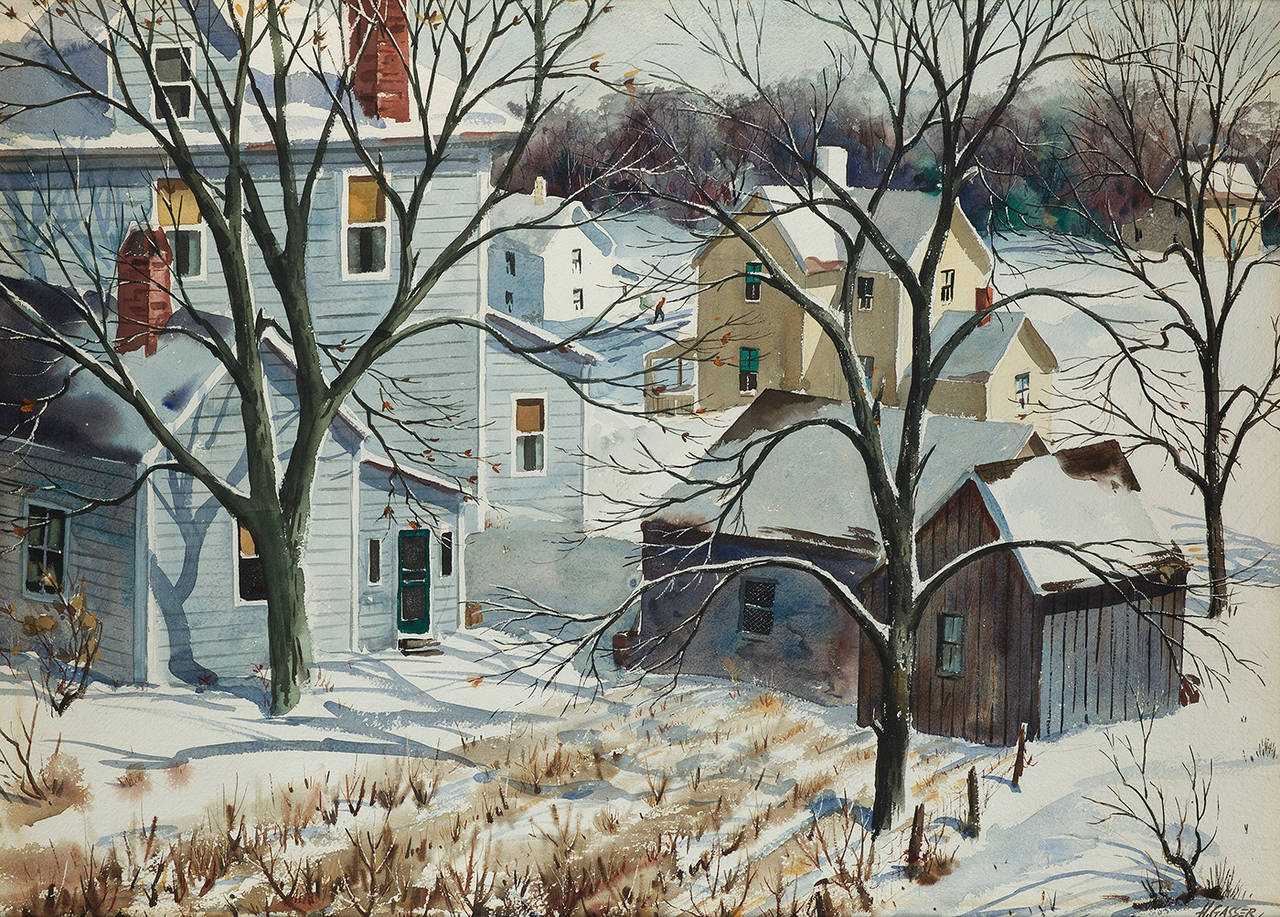 Henry Martin Gasser Houses In A Snowy Landscape