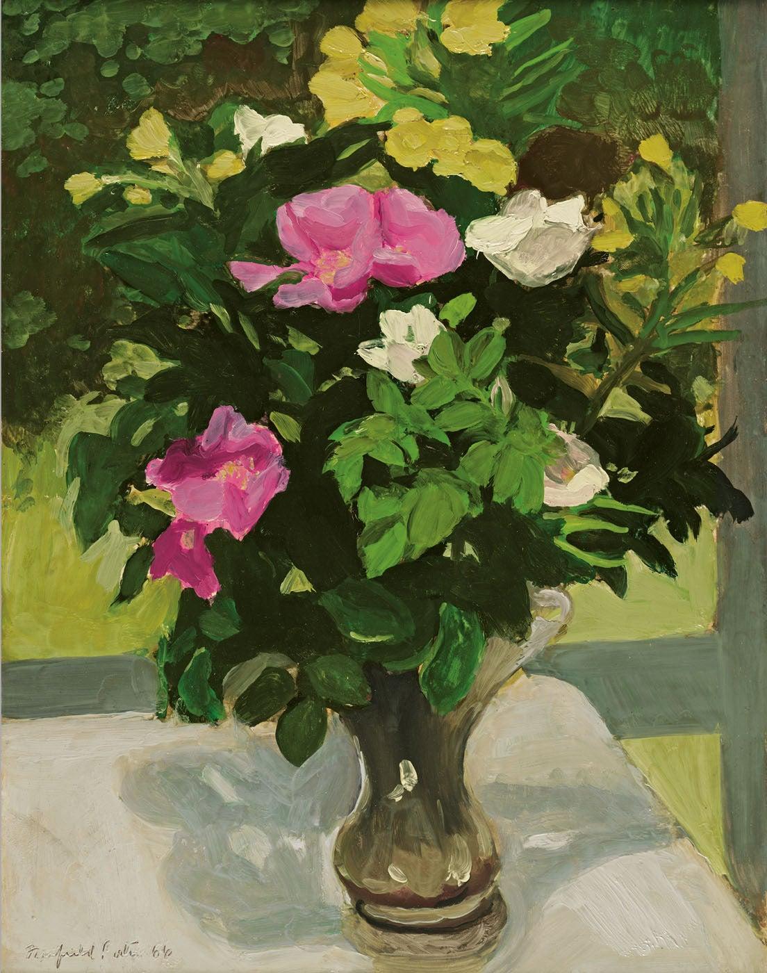 Fairfield Porter Rosa Rugosa Painting At 1stdibs