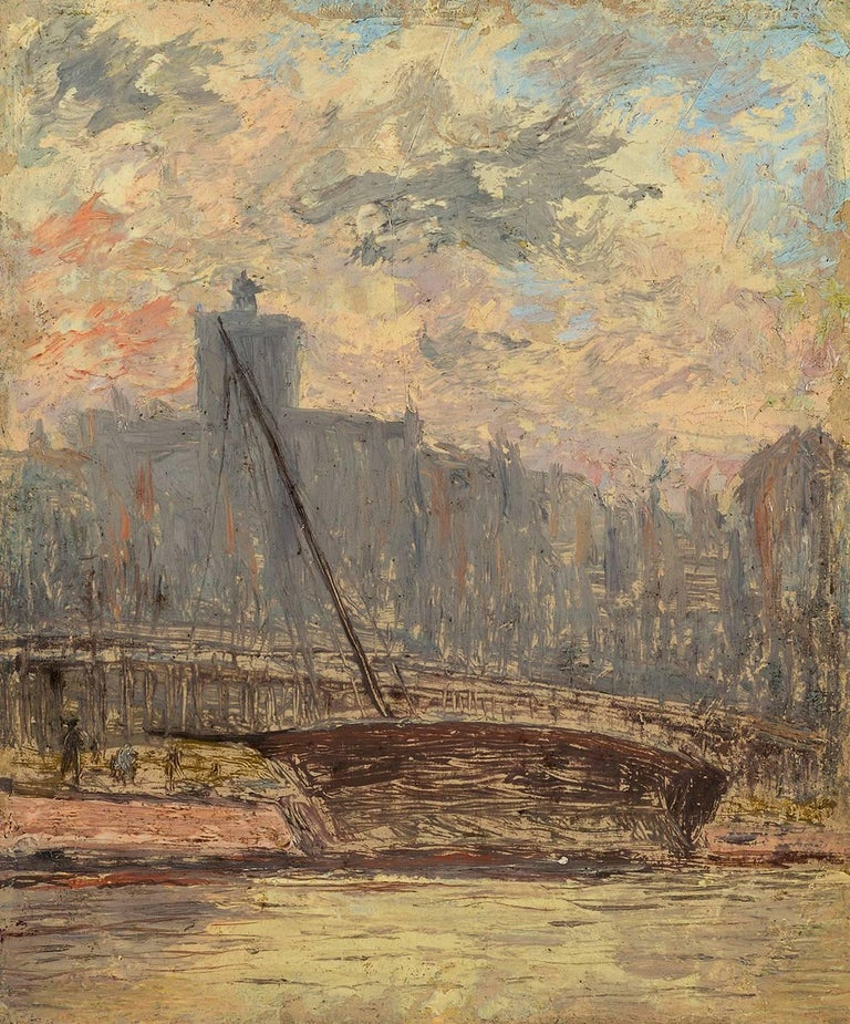 Arthur Clifton Goodwin Landscape Painting - City View from the Harbor