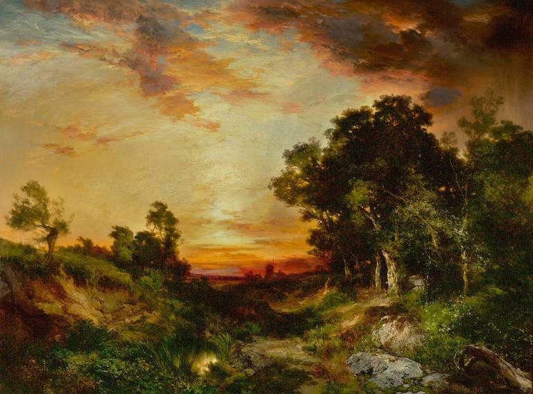 Thomas Moran Sunset Amagansett Painting For Sale At