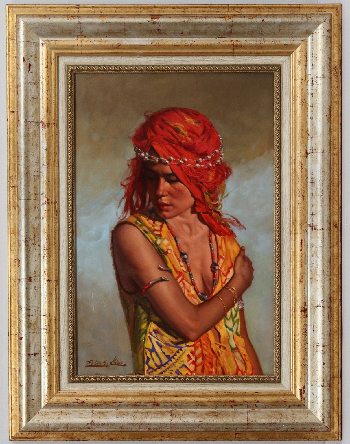 Oriental in Red - Chías Oil painting on canvas Realism