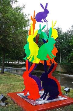 Outdoor bunny sculpture