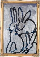 Dark blue bunnies on metallic silver
