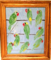Parrots on light blue