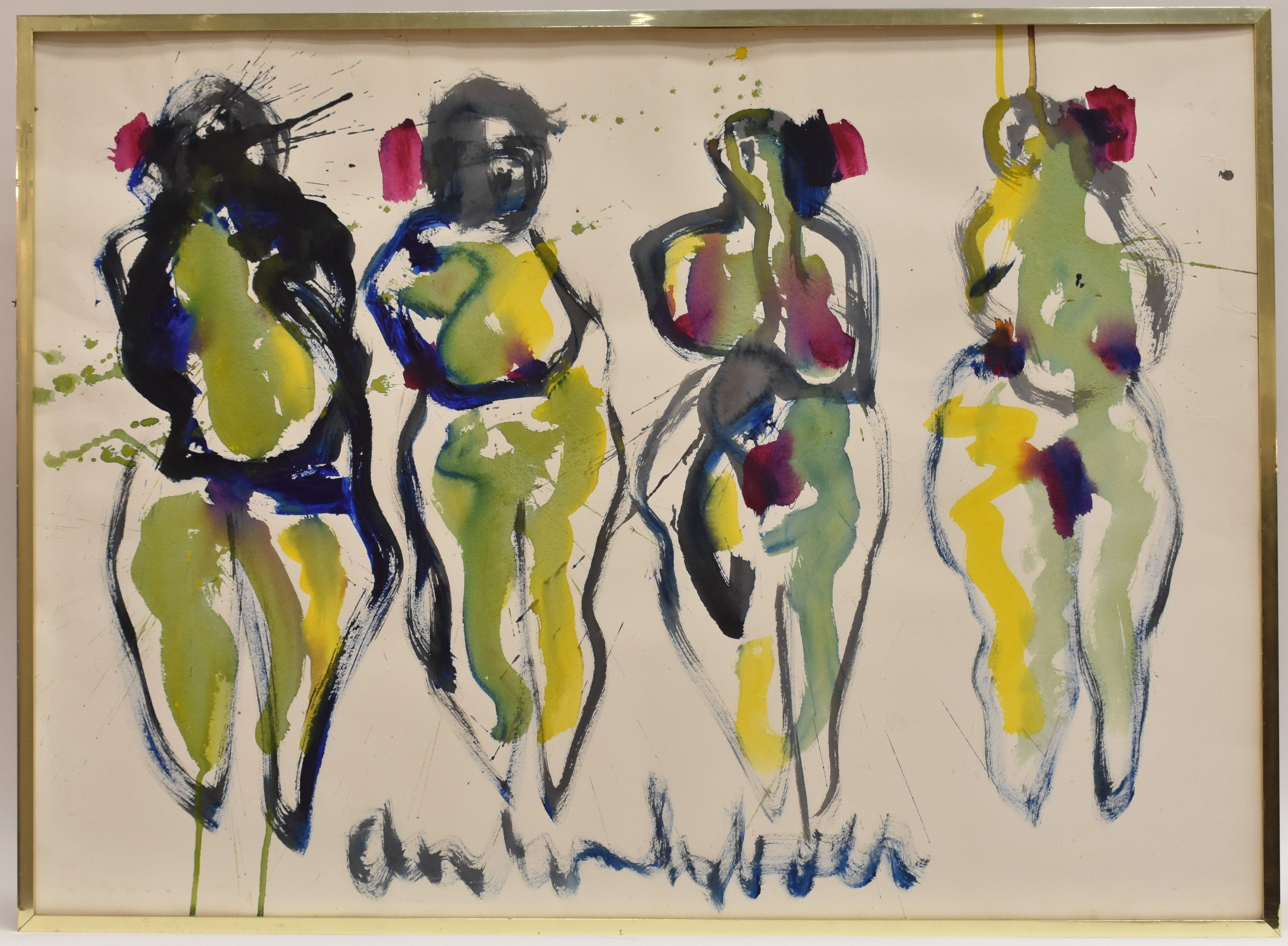 Four brides - Watercolor on Paper Figurative Abstract Art