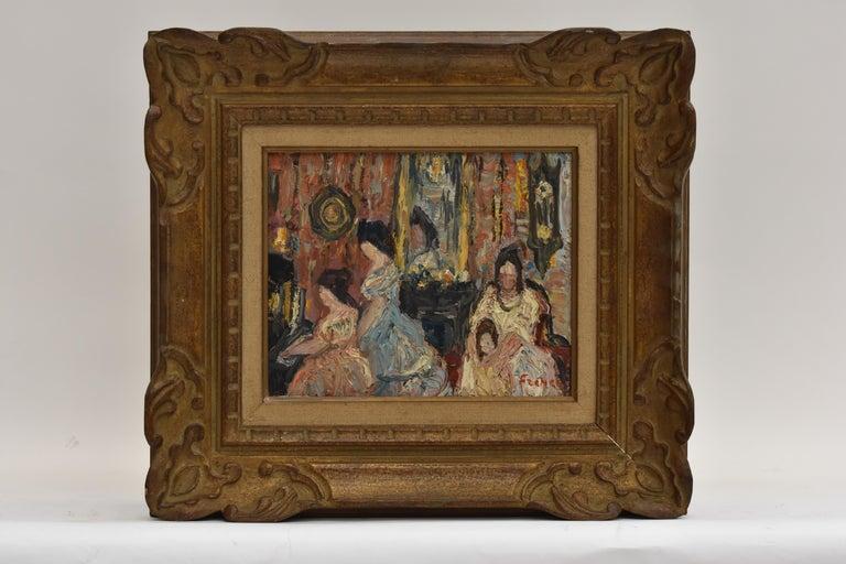 Yitzhak Frenkel  Interior Painting - Elegant company during a matinee - Expressionist Academie Beaux Arts Paris