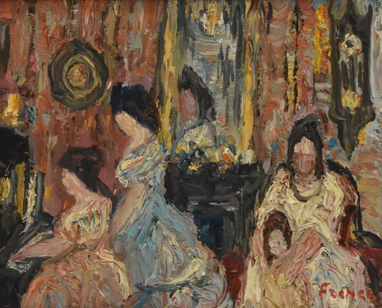Elegant company during a matinee - Expressionist Academie Beaux Arts Paris  - Painting by Yitzhak Frenkel