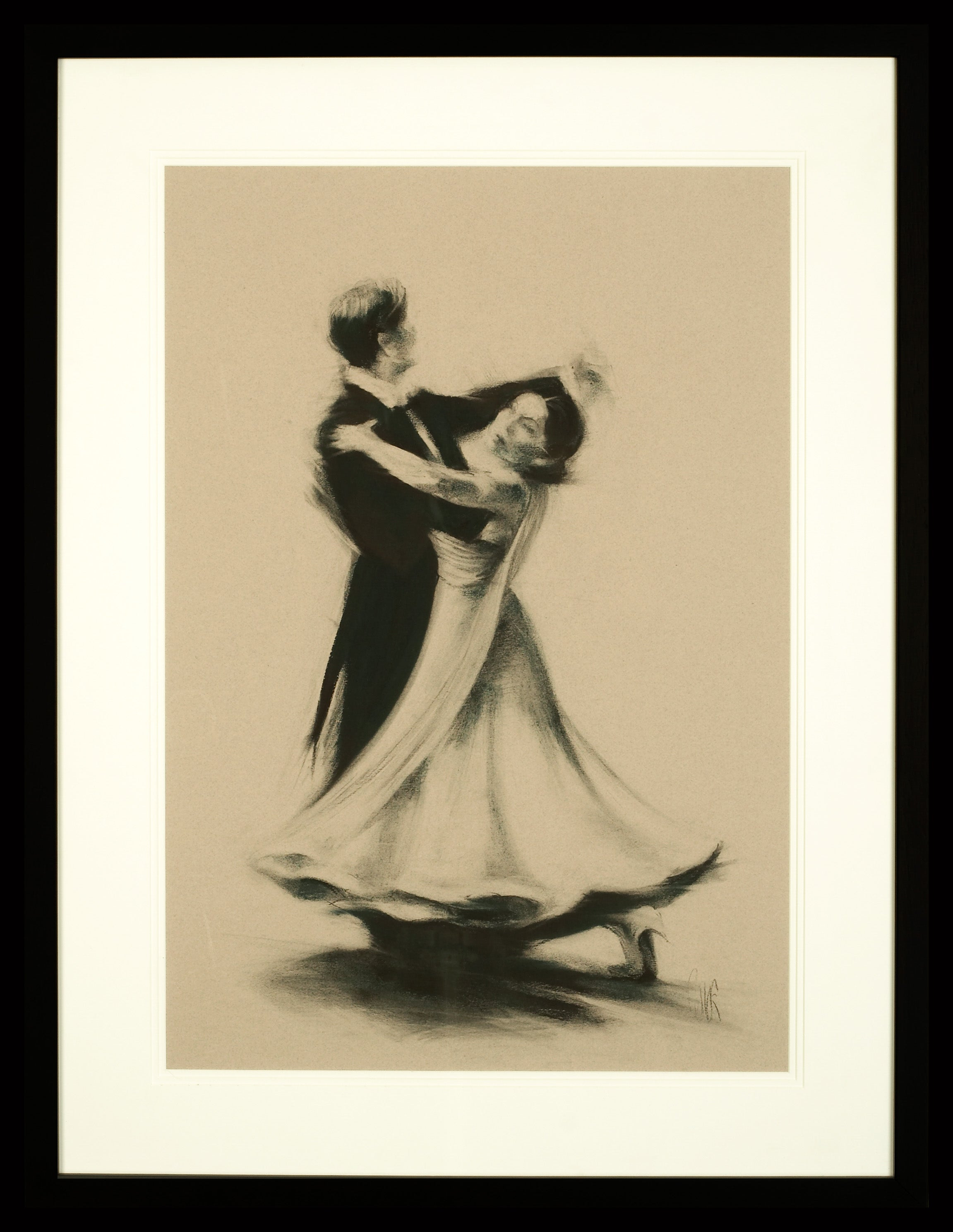 Ballroom Dancers - Charcoal, Figurative, Fabric, Movement, Human Form, British