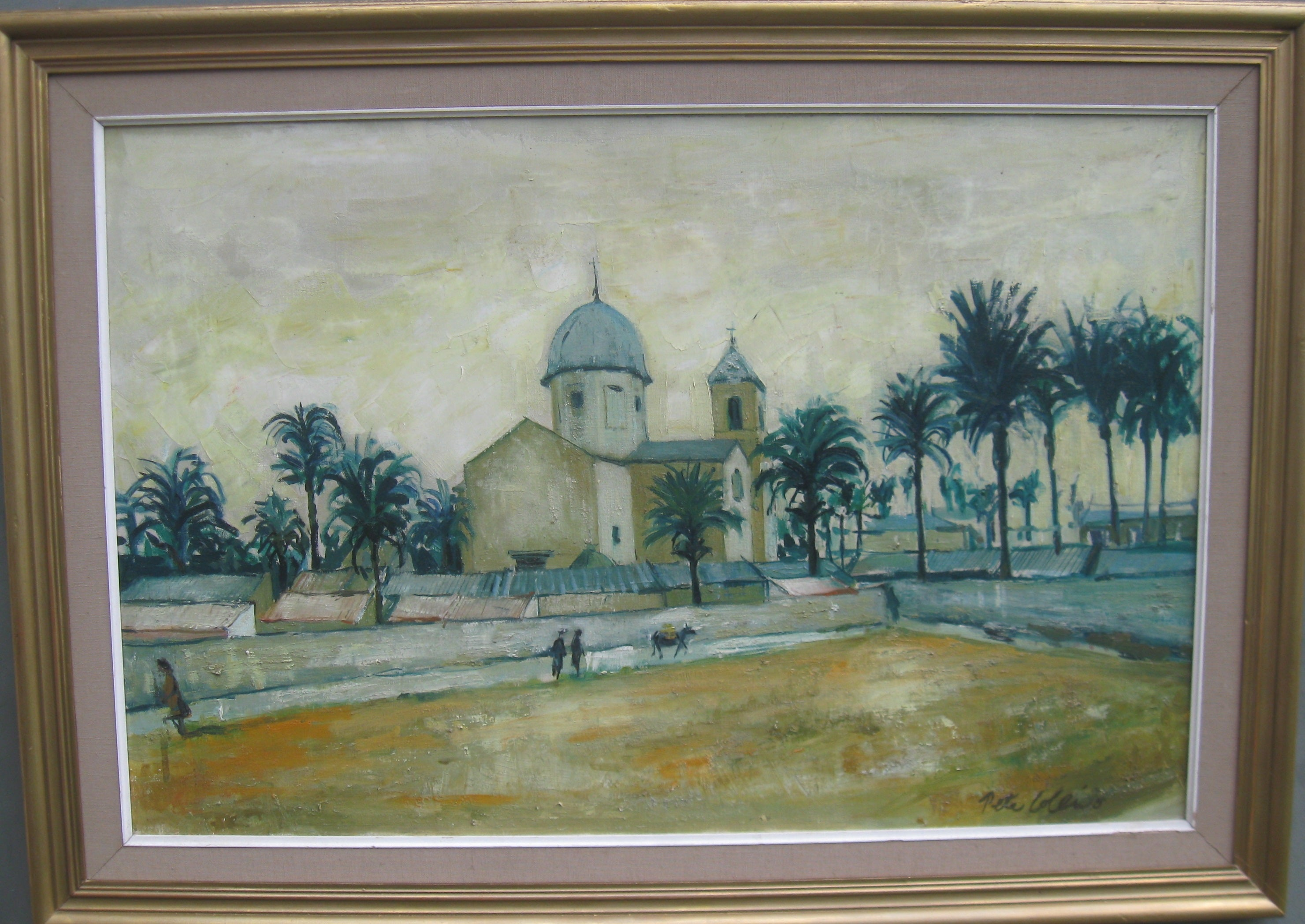 Large oil of a Mediterranean Town circa 1960's well listed artist