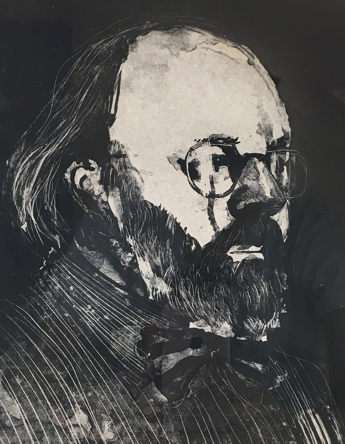 Henry '73 (Framed) David Hockney portrait drawing of Metropolitan Museum curator