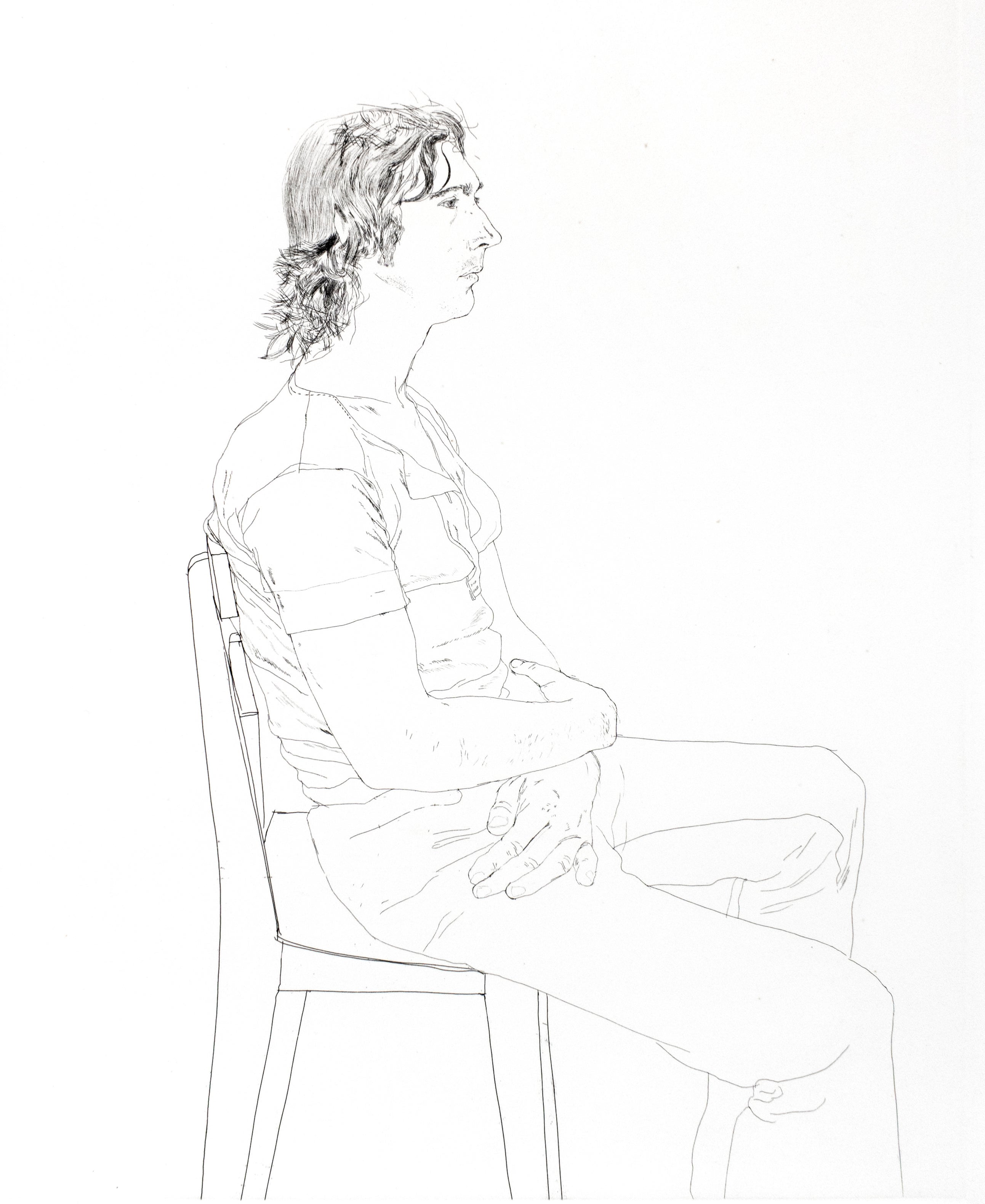 Maurice Payne David Hockney seated black and white portrait drawing of young man
