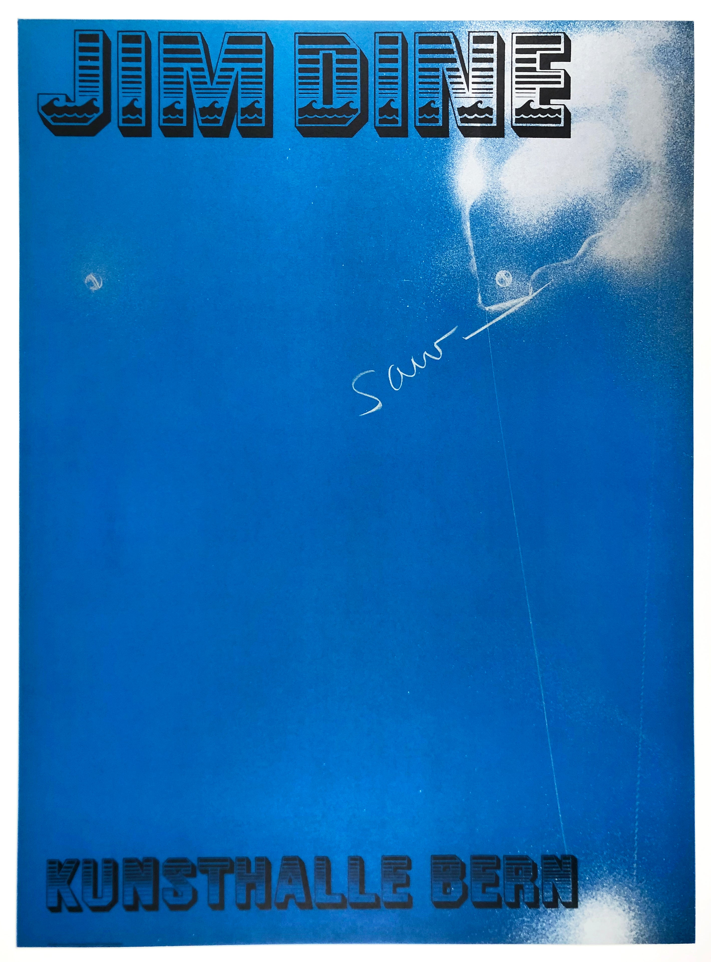 Vintage Jim Dine tool poster Kunsthalle Bern (Saw) neon blue 1970s retro font