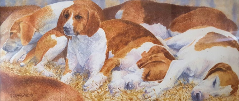 """An original signed watercolor by English artist Gillie Cawthorne (1963-) titled """"Resting French Boar Hounds"""", 2015. Hand signed and dated by Cawthorne lower left. This watercolor painting is double matted with matting from Holland and framed with"""