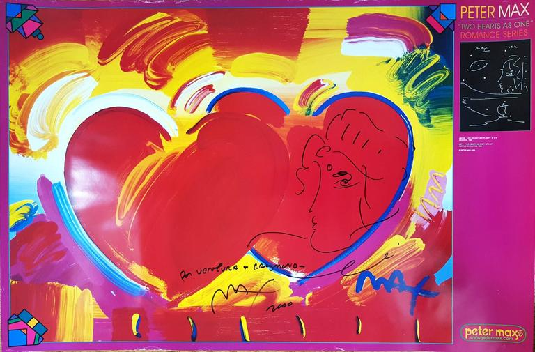 Peter Max Figurative Art - Two Hearts as One