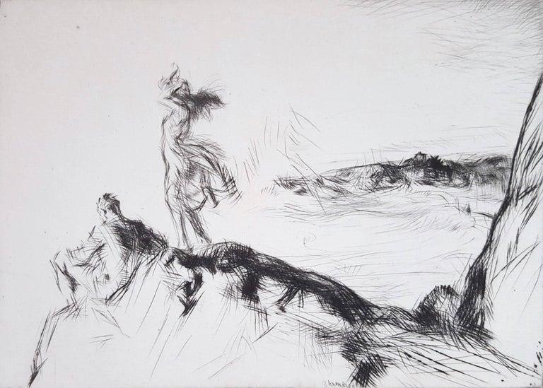 Edmund Blampied Figurative Print - Sea Breezes