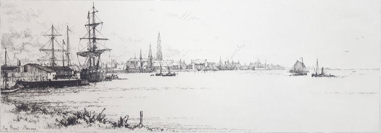 Eugene Bejot Landscape Print - Le Quai du Rhin, Anvers