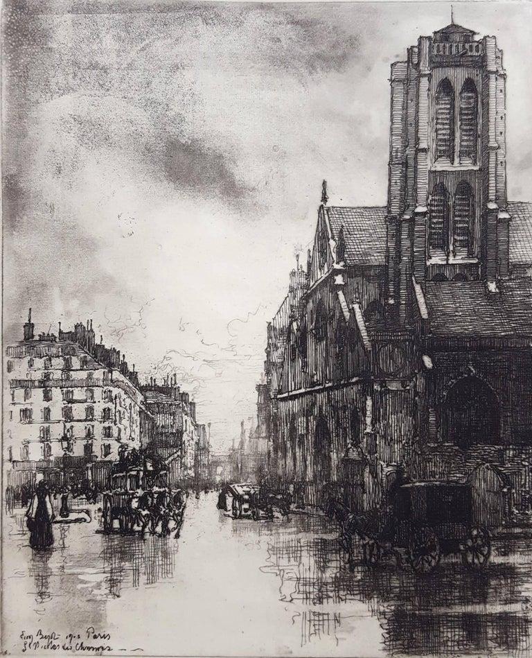 Eugene Bejot Landscape Print - Paris, St. Nicholas